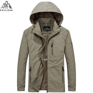 Image 1 - PEILOW yeni artı boyutu M ~ 6XL İlkbahar sonbahar erkek rahat askeri Hoodie ceket erkekler su geçirmez giysiler erkek rüzgarlık ceket erkek