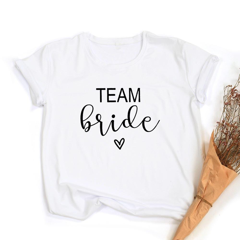 Team Bride Print Women Short Sleeve T Shirts Bachelorette Wedding Party Graphic T-shirt Harajuku Tshirt Female Tees Tops Hipster 5