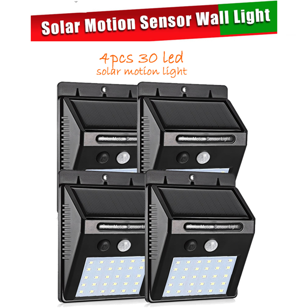 2/4PCS 30 LED Solar Light Lamp Outdoor PIR Motion Sensor Solar Power Panel Garden Light Night Security Street Yard Path Wall Lam
