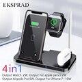 Беспроводное зарядное устройство 4 в 1 10 Вт Быстрая зарядка для iPhone 11 11pro XS XR Xs Max 8Plus для Apple Watch 5 4 3 2 Airpods Pro Pencil Pad