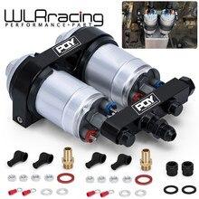 Wlr racing-um suporte da bomba de combustível do furo dobro da parte com logotipo de pqy + duas partes 044 oem da bomba de combustível: 0580 254 044 300lph