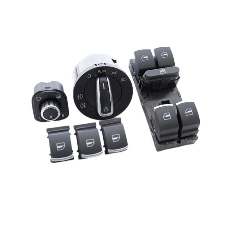 OEM Chrome Side Mirror Switch Master Window Headlight Switch Regulator Lever For VW CC Tiguan Passat B6 Golf 5 6 Jetta MK5