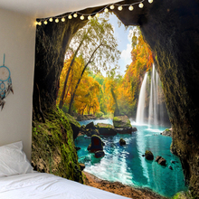 waterfall mountain rock natural scenery print tapestry wall hanging real effect lifelike bohemian wall blanket hippie carpets WOSTAR Beautiful Cave Waterfall Print Wall boho Hippie Tapestry Polyester Fabric Home Decor Wall Tapestry Carpets Yoga Mat