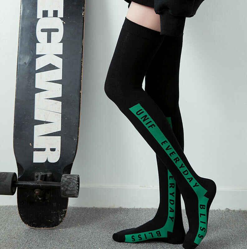 새로운 양말 패션 스타킹 캐주얼 코튼 허벅지 높은 무릎 아크릴 높은 양말 여자 여자 여자 긴 양말 양말