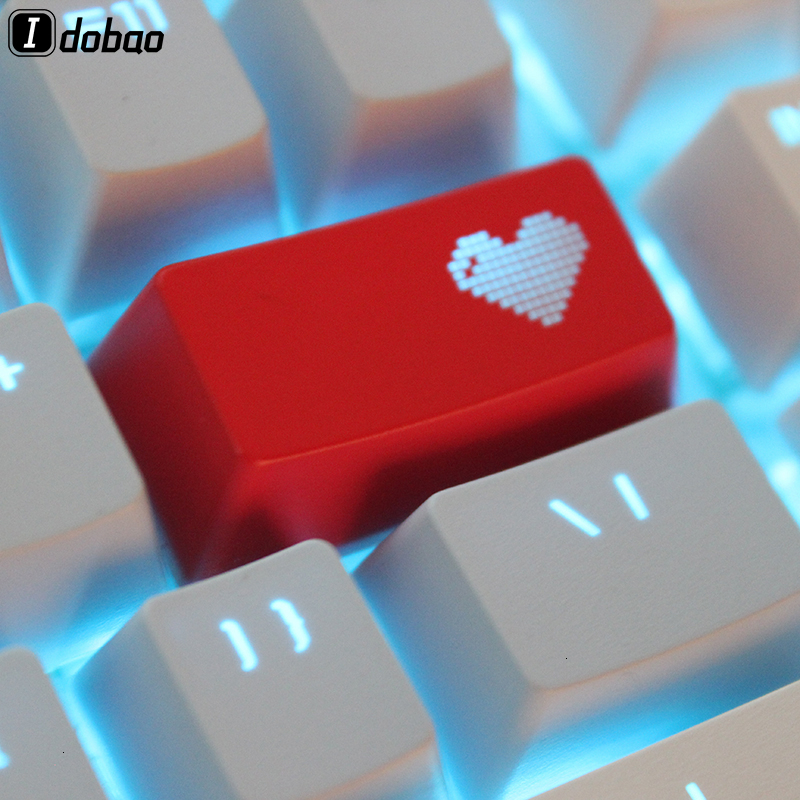 Novelty Shine Through Keycaps ABS Etched Pixel Heart Red Custom Mechanical Gaming Keyboard Light Oem Profile Backspace Cherry Mx