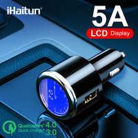IHaitun de lujo LCD 5A USB coche cargador para Samsung S9 S10 rápido USB 3,0 de 3,1 de carga rápida para iPhone 11 Huawei P30 Pro Oneplus X 7