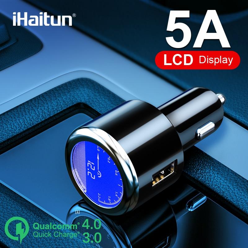 Ihaitun luxo lcd 5a usb carregador de carro para samsung s9 s10 rápida usb 3.0 3.1 carga rápida para iphone 11 huawei p30 pro oneplus 7 x
