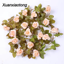 Xuanxiaotong 230cm 17 Head Autumn Rose Flower Vine Artificial for Wedding Decor Real Touch Silk Flowers String With Leaves