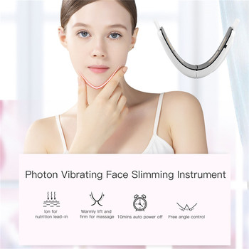 Micro Current Electric Face Slimming Belt V Face Chin Lift Massager Rechargeable Vibration Facial Slimmer with Electrode Pads 31 2