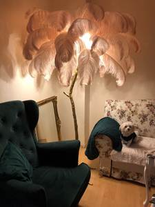 Light Feather-Lamp Ostrich Living-Room Copper Modern Hotel