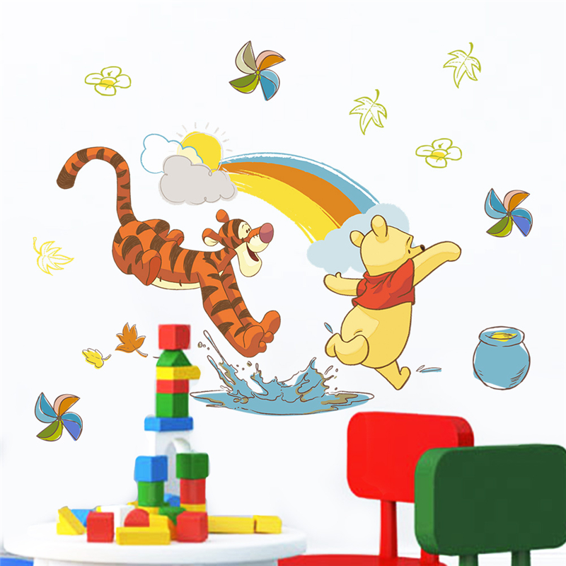 Cartoon Winnie Pooh Animals Wall Decals Kids Rooms Nursery Home Decor 40 60cm Disney Wall Stickers Pvc Mural Art Diy Wallpaper in Wall Stickers from Home Garden