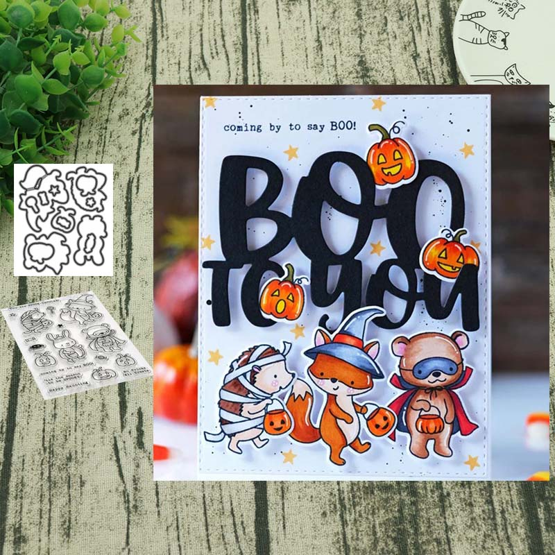 <font><b>Halloween</b></font> animal party Metal Cutting <font><b>Dies</b></font> <font><b>and</b></font> clera <font><b>stamps</b></font> for DIY Scrapbooking Card Making Decoration Supplies image