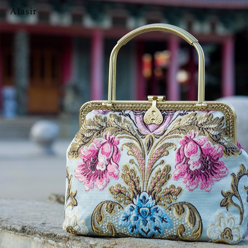 Alasir Vintage Style Ladies Handbag Cheongsam Antique Style Women Bag Chinese Style Embroidered Flowers Frame Bag