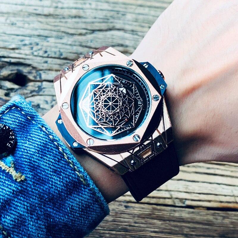 Man Watch 2019 Quartz Watch Openwork Retro Design Leather Band Watches Men Top Brand Wristwatches Gifts for Men Relógio