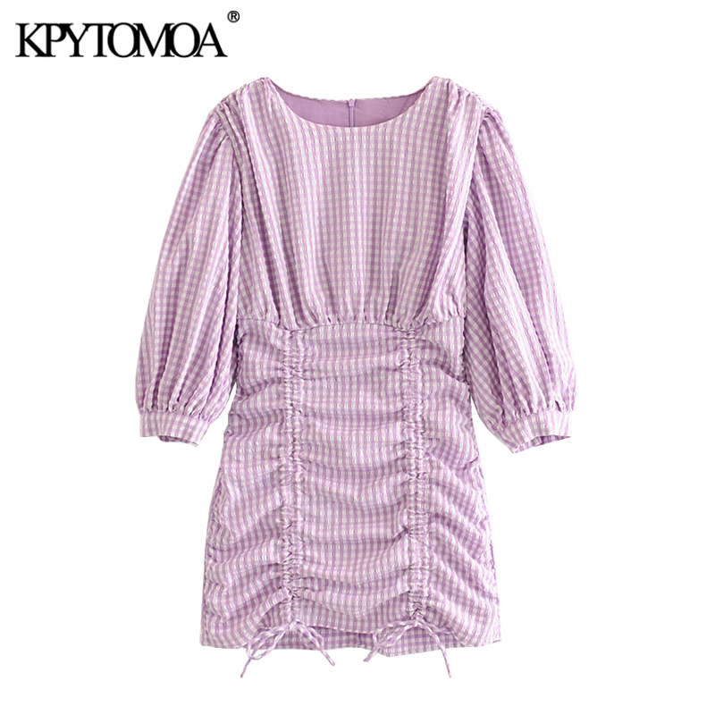 KPYTOMOA Women 2020 Chic Fashion Lace-up Pleated Plaid Mini Dress Vintage O Neck Three Quarter Sleeve Female Dresses Vestidos