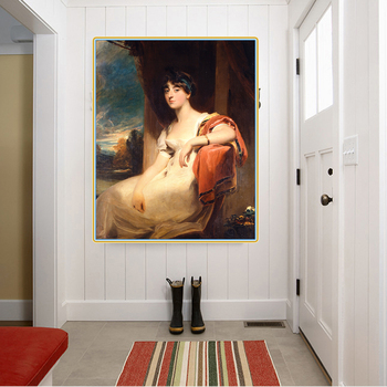 Citon Thomas Lawrence《Miss Harriet Clements》Canvas Oil painting Art Poster Picture Modern Wall decor Home Living room Decoration image