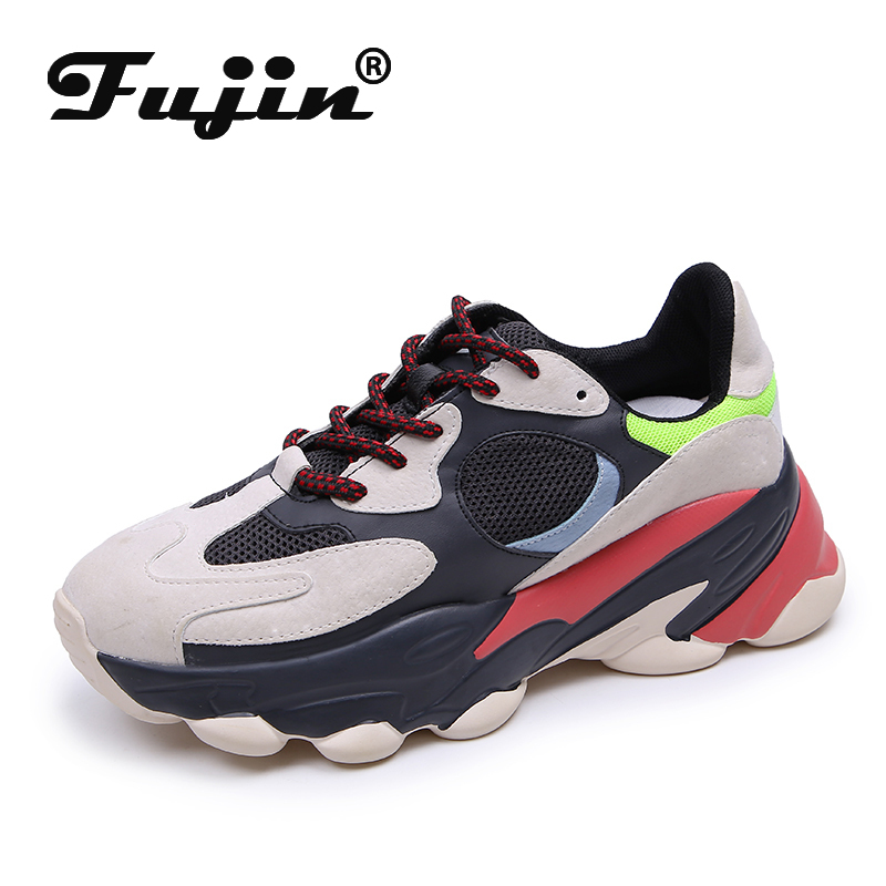 Fujin Breathable Lace Round Toe Leisure Women Shoes Sneakers Women Spring Thick Bottom Dropshipping Fashion Muffin Bottom Flats