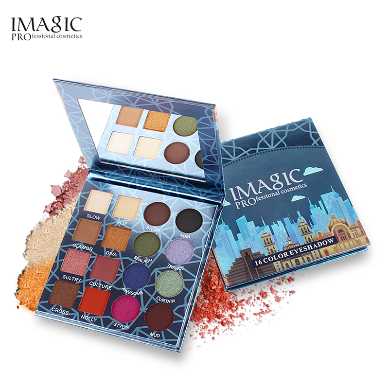 imagic profissional 16 cores de longa duracao a prova dwaterproof agua maquiagem sombra paleta pigmento glitter