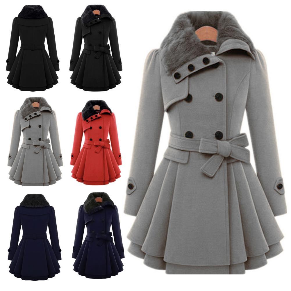 Women Wool Blend Topcoat Outwear Faux Coat Woolen Jacket