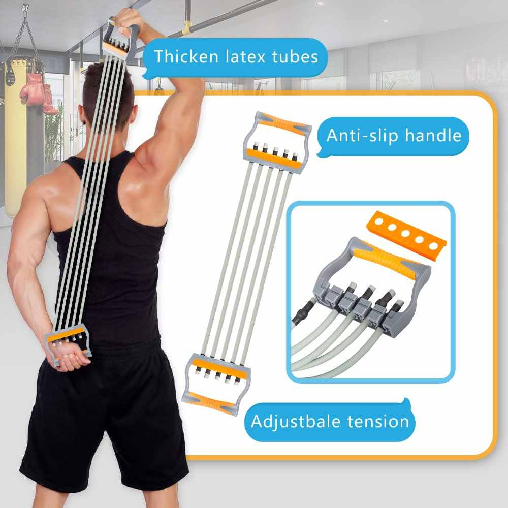 Adjustable Arm Pulling Resistance Band 5 Tube Chest Expander Muscle Training