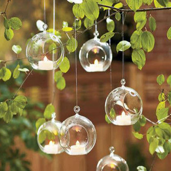 10pcs Clear Decor Ball Globe Shape Transparent Hanging Glass Vase Flower Plants Home Garden Shows 1