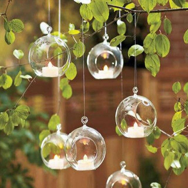 10pcs Clear Decor Ball Globe Shape Transparent Hanging Glass Vase Flower Plants Home Garden Shows 1
