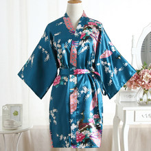 Dark Green Kimono Gown For Ladies Bath Robe Sexy Casual Lingerie Homewear Nightgown Print Peacock V-neck Home Clothing Negligee(China)