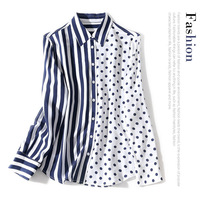 New Lapel blue and white stripe polka dot print and long sleeve mix and match medium and long silk shirt top