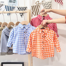 Spring Autumn Boy's Shirts Casual Long Sleeve Kids Girls Blouses for Children Toddler Clothes Infant Baby Boy Plaid Shirt Gifts
