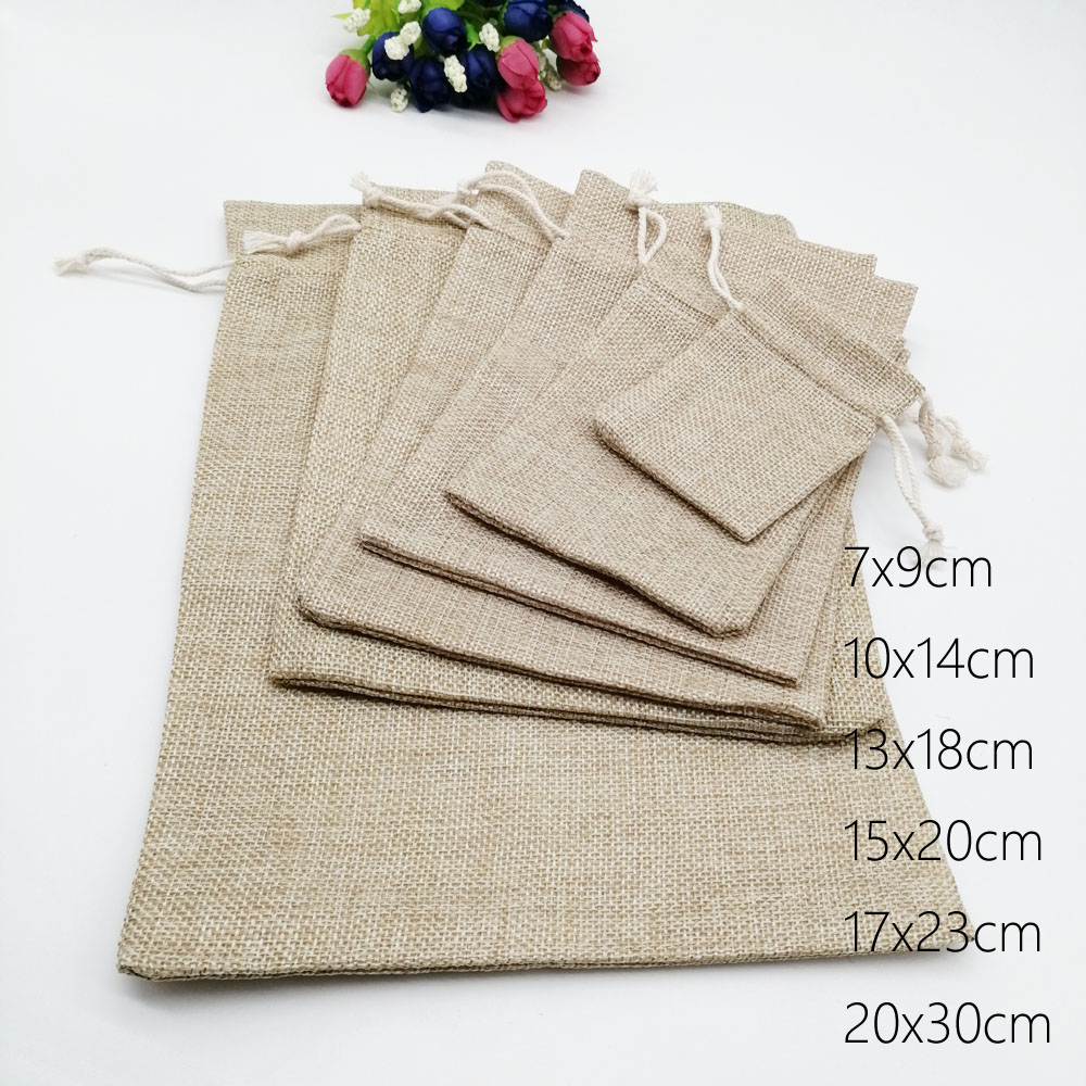 50pcs Jute Bags Gift Drawstring Pouch Gift Box Packaging Bags For Gift Linen Bags Jewelry Display Wedding Sack Burlap Bag Diy