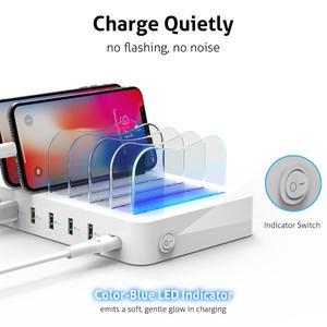 """Image 2 - מותג מוביל בשוק בארה""""ב Soopii 50W/10A 6 יציאת USB תחנת טעינה עבור מספר מכשירים, 6 מעורב כבל כלול, הטוב ביותר מתנות"""