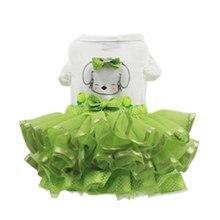 Милая зеленая юбка для девочек; Одежда для собак и щенков; платье для маленьких собак; летняя одежда