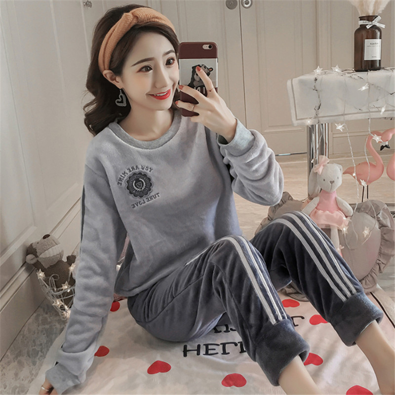 Pajamas Women 2020 Autumn And Winter Long-sleeved Thick Warm Korean Sports Comfort Flannel Home Service Two-piece Suit