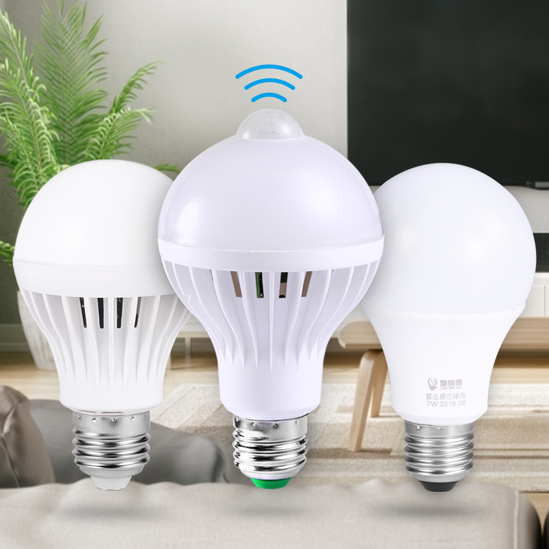 Led Lamp PIR Motion Sensor Smart Bulb 3W 5W 7W 9W E27 Led Bulb 220V Radar Sound Voice Sensor Smart Light Bulbs Led Luminaire