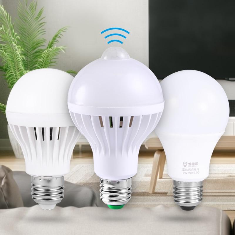 Led Lamp PIR Motion Sensor Smart Bulb 3W 5W 7W 9W E27 Led Bulb 220V Radar Sound Voice Sensor Smart Light Bulbs Led Luminaire