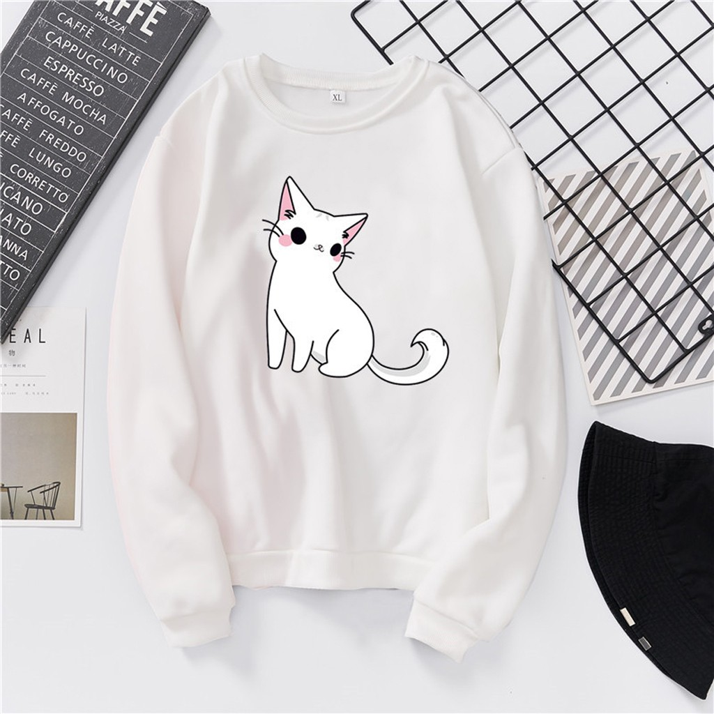 FEITONG New arrival Woman Fashion Casual Loose O-Neck  Cat Print Hoodie Printed Pullove