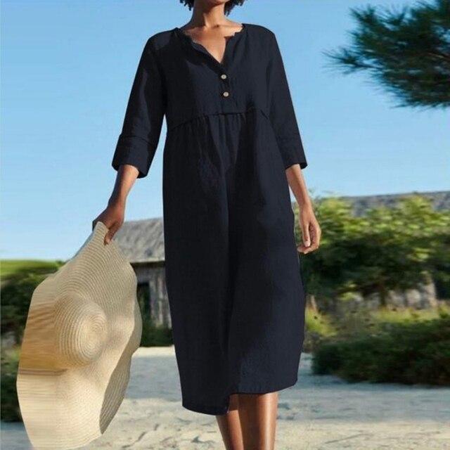 Linen Summer Dress Women Three Quarter Casual Pocket Woman Dress Solid A-Line Ruffles Dresses for Women 2021 robe femme 2