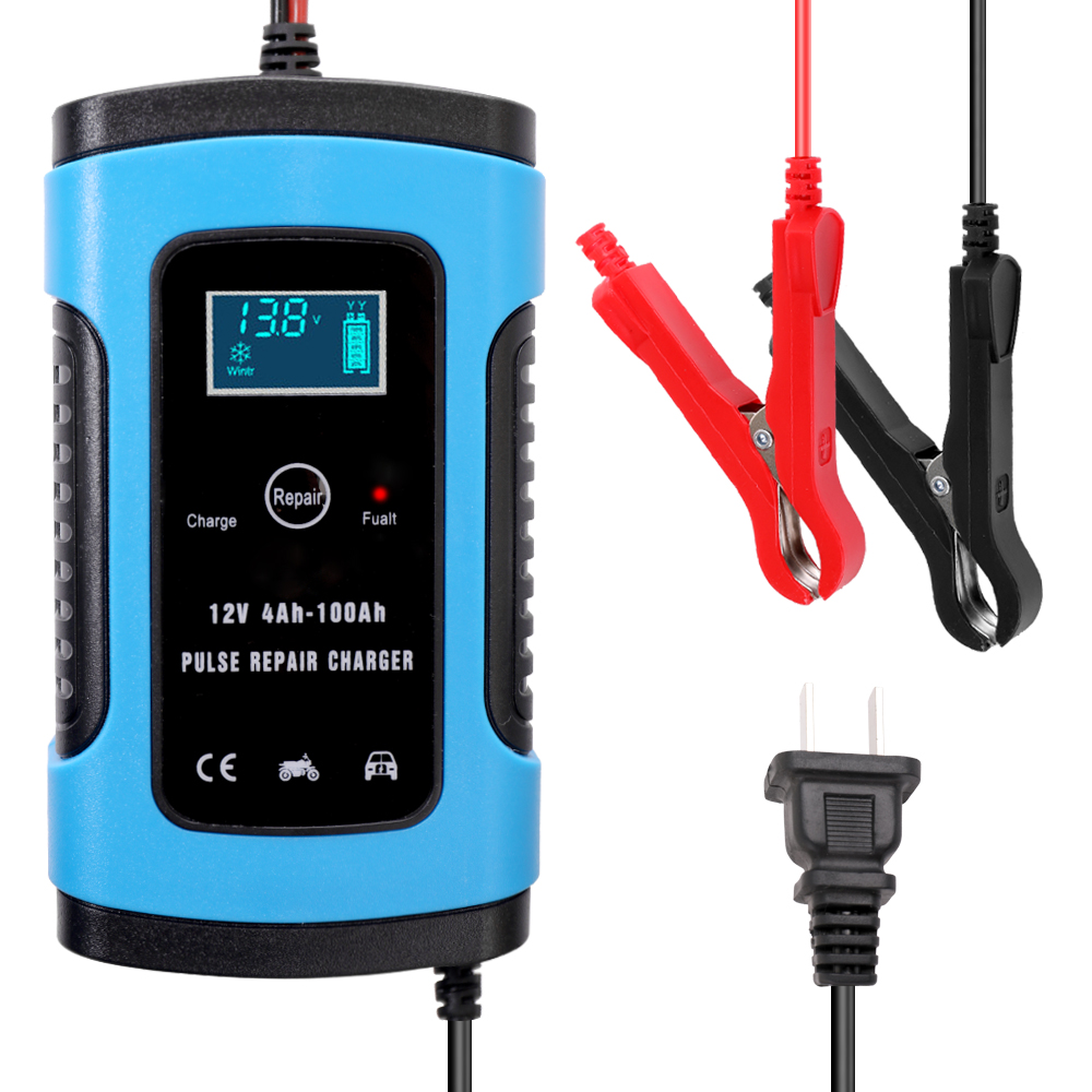 12 v 6a carregador de bateria de carro automático completo inteligente carregamento de energia rápida reparação de pulso carregadores molhado seco chumbo ácido bateria-carga