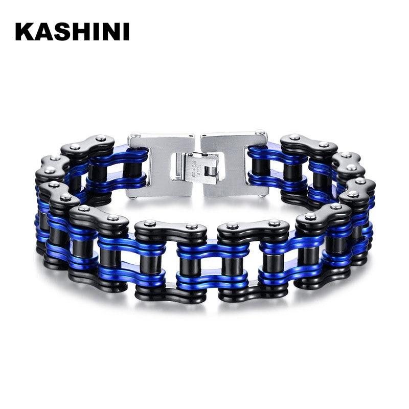 Punk Men s Motorcycle Chain Bracelet Black Stainless Steel Bike Chain Bracelet 316L Couple Bracelet blue