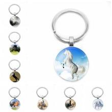 2019 new fashion unicorn keychain animal horse key chain handmade round photo frame 25 mm glass convex car ring