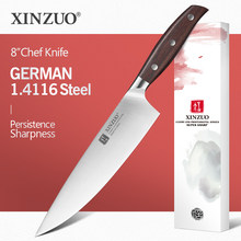 XINZUO 8'' Chef Knife German DIN 1.4116 Steel Kitchen Knives Stainless Steel Meat Vegetables Knife Kitchen Red Sandalwood Handle