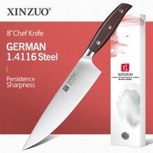 Xinzuo 8 knife chef faca do chef alemão din 1.4116 aço facas de cozinha de aço inoxidável carne legumes faca cozinha vermelho sândalo lidar com