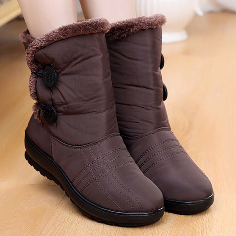 2019 Round-Toe Women Boots Ankle Boots Women Winter Boots Plush Snow Boot Women Shoes Waterproof Booties Cotton Boots For Women image
