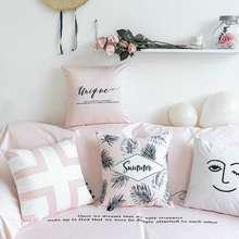 Nordic Simple Velvet Pillow Cover Powder Ash Geometric Series Throw Cushion Cover Living Room Sofa Bedroom Soft Decoration цены
