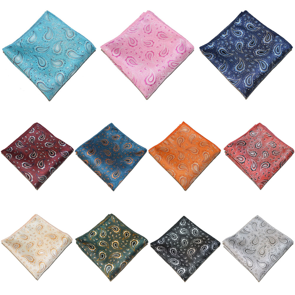 Men Paisley Printed Pocket Square Wedding Party Formal Hanky Handkerchief