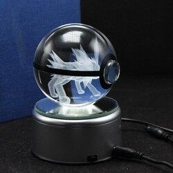 LED lampka nocna 3D Pokemon Jolteon postacie z kreskówek lampa stołowa Pokeball przycisk do papieru kryształowe prezenty urodziny|birthday gift|birthday ledbirthday lamp -