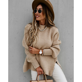 Women Solid Knitted Side Slit Mock Neck Sweater 2020 Winter Long Lantern Sleeve Basic Pullover Casual Female Loose Tops autumn winter turtleneck knitted warm sweaters women new lantern sleeve side slit jumper pullover solid casual loose sweater top