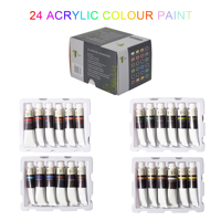 Tavolozza 24 Colors Tubes Acrylic Paint Set 22ML with Storage Box, Rich Pigments, Non Fading, Non Toxic Paints for Artist