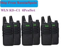 6 adet taşınabilir radyo WLN KD C1 Mini kablosuz uhf Walkie Talkie alıcı verici amatör radyo el radyosu communicator рация