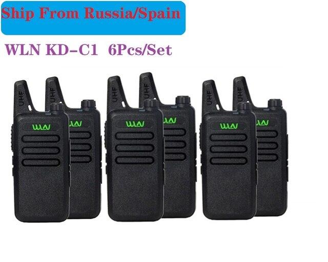 6PCS Portatile Radio WLN di KD C1 Mini Wiress uhf Walkie Talkie ricetrasmettitore amatoriale radio portatile radio communicator рация